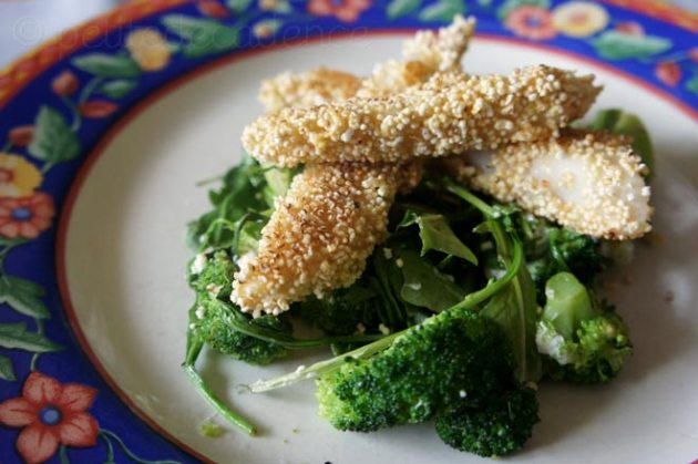 Amaranth Fish sticks over sauteed broccoli salad