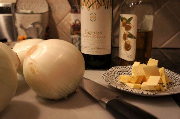 onions, butter, wine