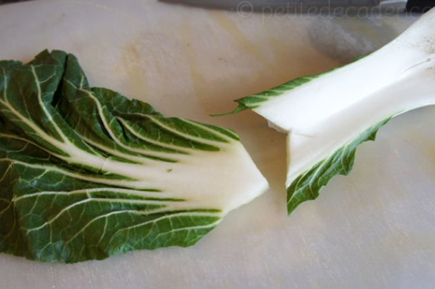 Cutting the bok choy
