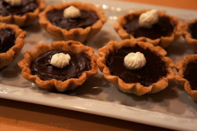 Chocolate and peanut butter tartlets