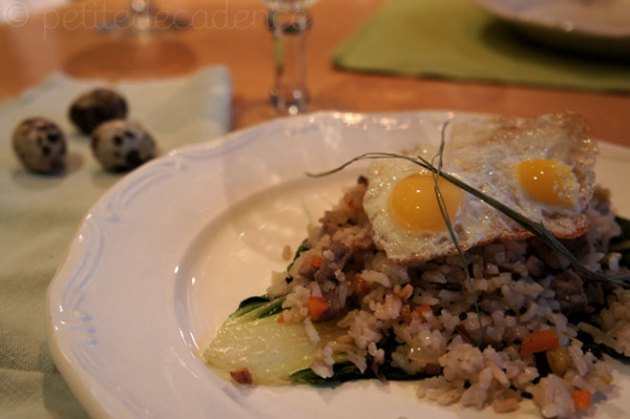 Fried rice with quail eggs, rib eye and bok choy