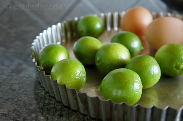 Limes, eggs, pie shell