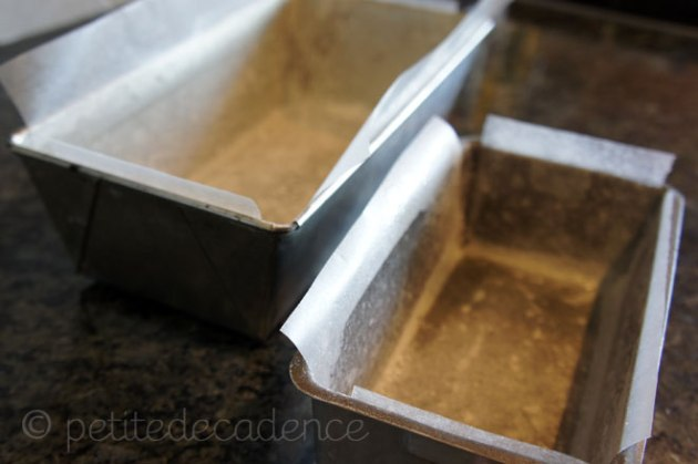 Lining the cake pans