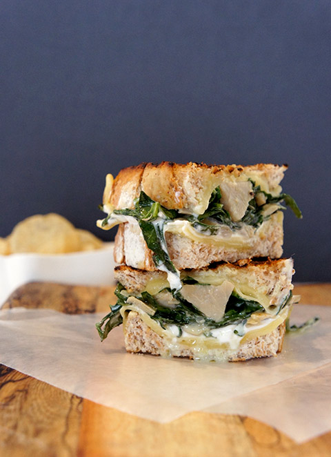 Artichoke and spinach grilled cheese sandwich