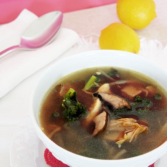 Kale and portobello protein soup