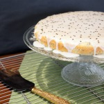 Black sesame and lime cream cake