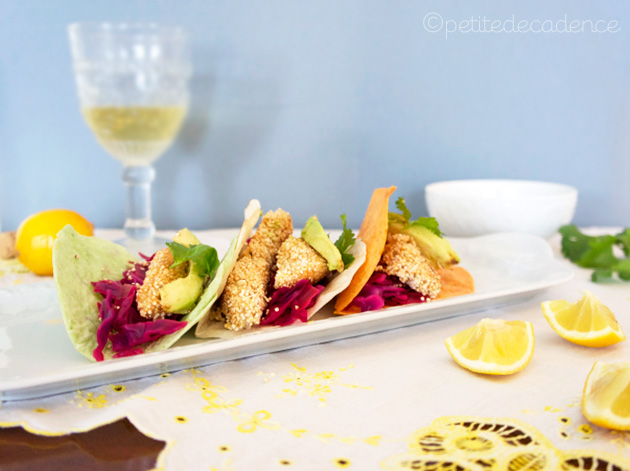 Amranth Fish tacos with mango sauce