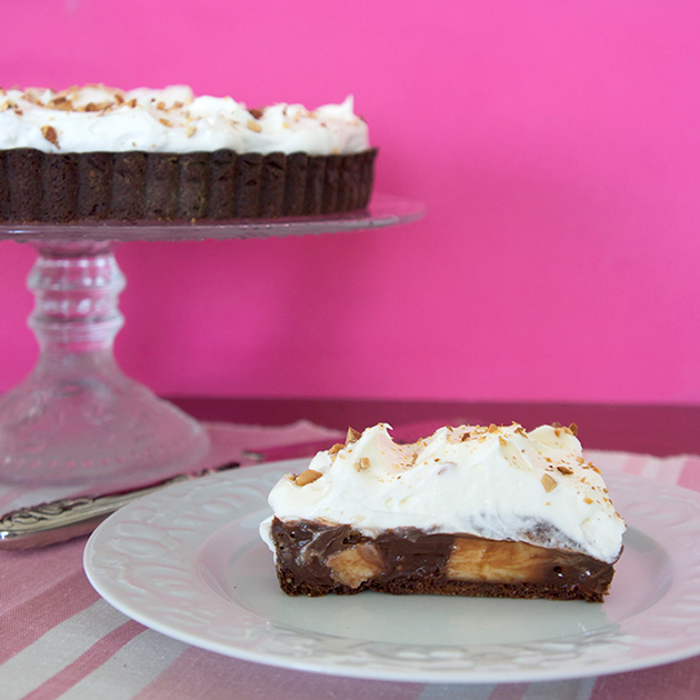Chocolate banana almond tart